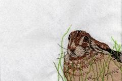 Illustratie '10 steekjes los in het Grote Dierenbos', 2018, draad en vilt, 14,8 x 21 cm.