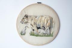 Cow heron, 2021, 36 x 36 cm.