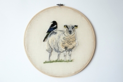 Magpie, 2021, 36 x 36 cm., freehand machine embroidery