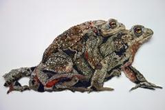 Toads Crossing, 2020, 30 x 40 cm., draad en katoen